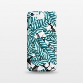 iPhone 5C  Green tropical leaves on monochrome marble by Oana