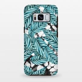 Galaxy S8 plus  Green tropical leaves on monochrome marble by