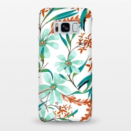 Galaxy S8+  Minty Rust by Uma Prabhakar Gokhale (graphic design, pattern, watercolor, floral, tropical, mint, minty, mint green, nature, botanical, rust, orange, flowers, blossom, spring, bloom)