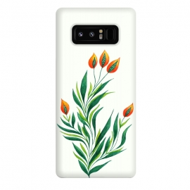 Galaxy Note 8  Green Plant With Orange Buds by Boriana Giormova