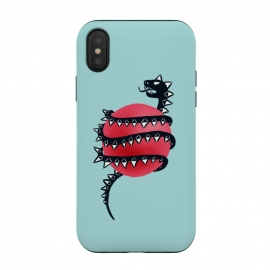 iPhone Xs / X  Cool Evil Black Dragon Snake Monster by Boriana Giormova (snake, serpent, reptile, illustration, viper, danger, black, dangerous, creature, drawing, reptilian, scary, creepy, deadly, fang, evil, dragon, monster, weird, fantasy, beast, mythology, bizarre, character)