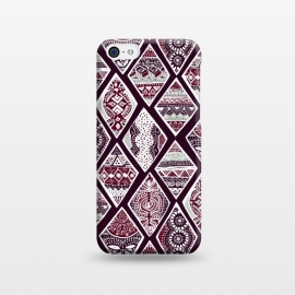 iPhone 5C  Tribal Diamonds On Red, White & Sage  by Tigatiga