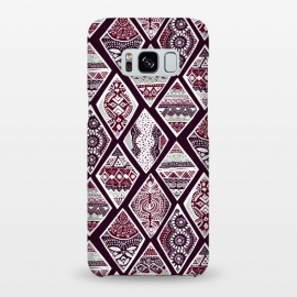 Galaxy S8+  Tribal Diamonds On Red, White & Sage  by Tigatiga