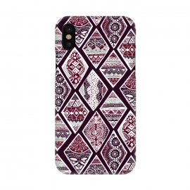 iPhone X  Tribal Diamonds On Red, White & Sage  by Tigatiga
