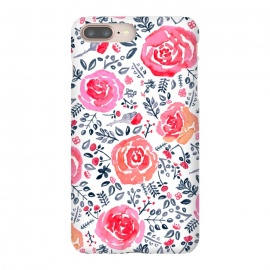 Red, Magenta & Navy Watercolor Roses  by Tigatiga