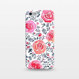 iPhone 5/5E/5s  Red, Magenta & Navy Watercolor Roses  by Tigatiga