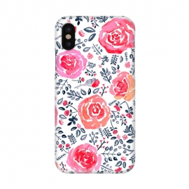 iPhone X  Red, Magenta & Navy Watercolor Roses  by Tigatiga
