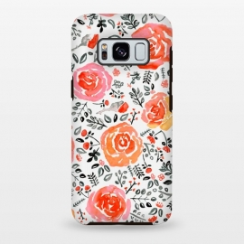 Galaxy S8 plus  Orange, Red & Grey Watercolor Roses  by