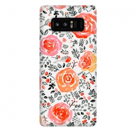 Galaxy Note 8  Orange, Red & Grey Watercolor Roses  by