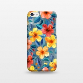 iPhone 5C  Bright Little Summer Hibiscus Blooms in Watercolor by Micklyn Le Feuvre (hibiscus,floral,tropical,watercolor,summer,watercolour,micklyn,red,yellow,orange,peach,mustard,grey,teal,cyan,navy,trendy,beautiful,flowers,flower,leaves,botanical,gorgeous,colorful)