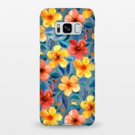 Galaxy S8+  Bright Little Summer Hibiscus Blooms in Watercolor by Micklyn Le Feuvre (hibiscus,floral,tropical,watercolor,summer,watercolour,micklyn,red,yellow,orange,peach,mustard,grey,teal,cyan,navy,trendy,beautiful,flowers,flower,leaves,botanical,gorgeous,colorful)