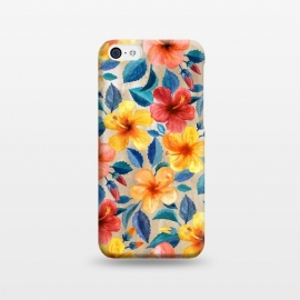 iPhone 5C  Little Tropical Hibiscus Blooms in Watercolor by Micklyn Le Feuvre