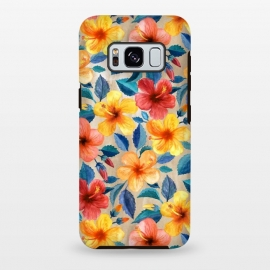 Galaxy S8 plus  Little Tropical Hibiscus Blooms in Watercolor by  (hibiscus,tropical,floral,micklyn,watercolor,pattern,flowers,bright,colorful,summer,leaves,nature,cyan,peach,beach,hawaiian,cute,trendy,botanical,painting,watercolour)