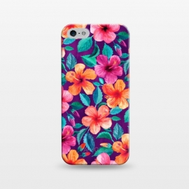 iPhone 5/5E/5s  Little Bright Hibiscus Blooms in Watercolor on Purple by Micklyn Le Feuvre
