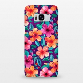 Galaxy S8+  Little Bright Hibiscus Blooms in Watercolor on Purple by Micklyn Le Feuvre (botanical,hibiscus,floral,pattern,flowers,flower,tropical,micklyn,magenta,leaves,vivid,bright,colorful,gorgeous,trendy,beautiful,summer,beach,island,hawaiian,saturated,color)