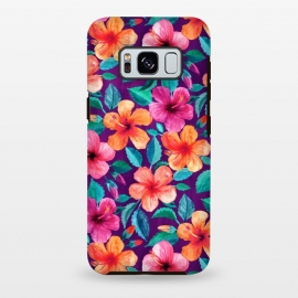 Galaxy S8 plus  Little Bright Hibiscus Blooms in Watercolor on Purple by  (botanical,hibiscus,floral,pattern,flowers,flower,tropical,micklyn,magenta,leaves,vivid,bright,colorful,gorgeous,trendy,beautiful,summer,beach,island,hawaiian,saturated,color)