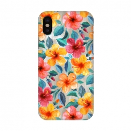 iPhone X  Little Tropical Hawaiian Hibiscus Blooms in Watercolor by Micklyn Le Feuvre