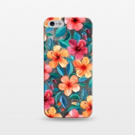 iPhone 5/5E/5s  Colorful Little Tropical Hibiscus Blooms by Micklyn Le Feuvre