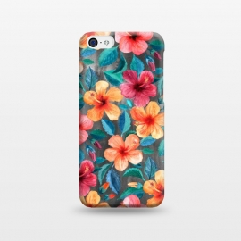 iPhone 5C  Colorful Little Tropical Hibiscus Blooms by Micklyn Le Feuvre