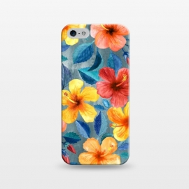 iPhone 5/5E/5s  Bright Summer Hibiscus Blooms in Watercolor by Micklyn Le Feuvre (bright,hibiscus,tropical,pattern ,watercolor,micklyn,summer,island,beach,hawaiian,flower,flowers,girly,gorgeous,trend,texture,hand painted,painting,mustard,cyan,navy blue,beautiful)
