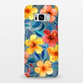 Galaxy S8+  Bright Summer Hibiscus Blooms in Watercolor by Micklyn Le Feuvre