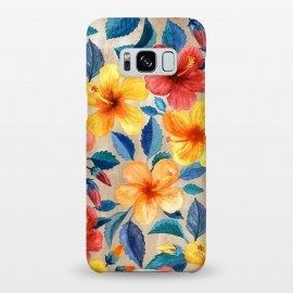 Tropical Hibiscus Blooms in Watercolor by Micklyn Le Feuvre (bright,tropical,summer,floral,hibiscus,hawaiian,island,beach,micklyn,watercolor,mustard,navy blue,colorful,girly,trend,popular,warm,flower,flowers,botanical,leaves,nature)