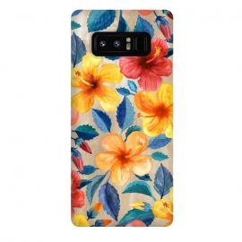 Galaxy Note 8  Tropical Hibiscus Blooms in Watercolor by Micklyn Le Feuvre (bright,tropical,summer,floral,hibiscus,hawaiian,island,beach,micklyn,watercolor,mustard,navy blue,colorful,girly,trend,popular,warm,flower,flowers,botanical,leaves,nature)