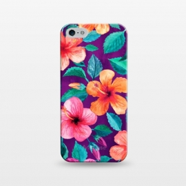iPhone 5/5E/5s  Bright Hibiscus Blooms in Watercolor on Purple by Micklyn Le Feuvre
