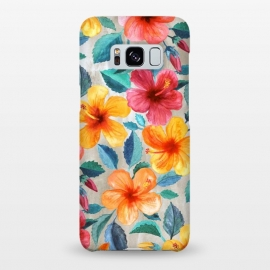 Galaxy S8+  Tropical Hawaiian Hibiscus Blooms in Watercolor by Micklyn Le Feuvre (summer,tropical,hibiscus,blossoms,blooms,flower,flowers,floral,painting,watercolor,micklyn,colorful,hawaiian,island,beach,hot,bright,cute,trendy,botanical,nature,girly)