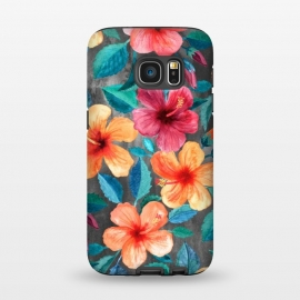 Galaxy S7  Colorful Tropical Hibiscus Blooms  by Micklyn Le Feuvre (hibiscus,floral,flower,flowers,micklyn,pattern,watercolor,summer,tropical,orange,beach,hawaiian,botanical,painting,illustration,leaves,petals,texture,colorful,blooms,popular,girly)