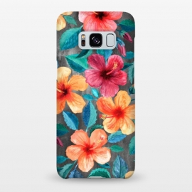 Galaxy S8+  Colorful Tropical Hibiscus Blooms  by Micklyn Le Feuvre (hibiscus,floral,flower,flowers,micklyn,pattern,watercolor,summer,tropical,orange,beach,hawaiian,botanical,painting,illustration,leaves,petals,texture,colorful,blooms,popular,girly)