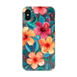 iPhone X  Colorful Tropical Hibiscus Blooms  by  (hibiscus,floral,flower,flowers,micklyn,pattern,watercolor,summer,tropical,orange,beach,hawaiian,botanical,painting,illustration,leaves,petals,texture,colorful,blooms,popular,girly)