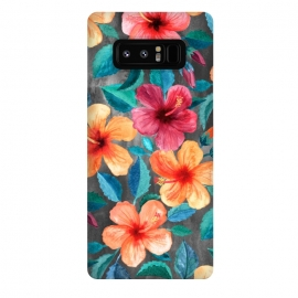 Galaxy Note 8  Colorful Tropical Hibiscus Blooms  by Micklyn Le Feuvre