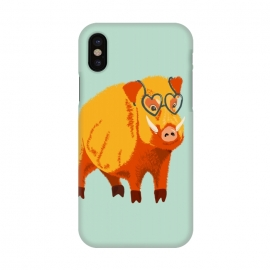 iPhone X  Cute Boar Pig With Glasses  by Boriana Giormova