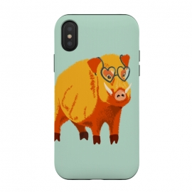 iPhone Xs / X  Cute Boar Pig With Glasses  by Boriana Giormova (animal, wildlife, boar, wild, pig, fur, hog, illustration, swine, muzzle, snout, tusk, fauna, eyeglasses, glasses, geek, heart shaped, kindhearted, kind, benevolent, cute, funny, humor, happy, happiness, bright, odd, weird, bizarre, fun)
