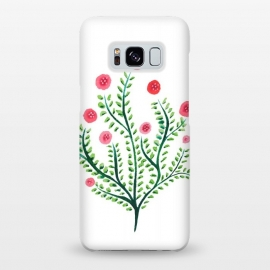 Galaxy S8+  Spring Plant In Pink And Green by Boriana Giormova