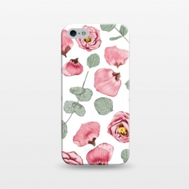 iPhone 5/5E/5s  Rosy Romance by Uma Prabhakar Gokhale (graphic design,watercolor,roses ,rose,romance,summer, floral,nature ,botanical ,petals,leaves ,blush ,mint)