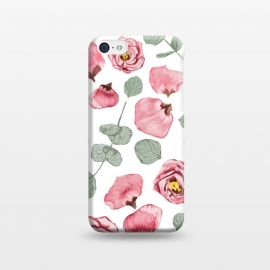 iPhone 5C  Rosy Romance by Uma Prabhakar Gokhale (graphic design,watercolor,roses ,rose,romance,summer, floral,nature ,botanical ,petals,leaves ,blush ,mint)