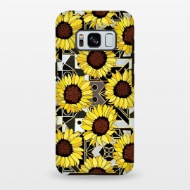 Galaxy S8+  Sunflowers & Geometric Gold, Black & White Background  by Tigatiga