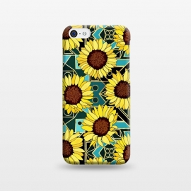 iPhone 5C  Sunflowers & Geometric Gold & Teal  by Tigatiga
