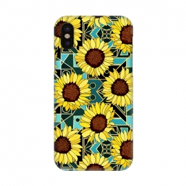 iPhone X  Sunflowers & Geometric Gold & Teal  by Tigatiga