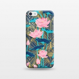 iPhone 5C  Art Deco Lotus Flowers in Pink & Navy by Micklyn Le Feuvre (lotus,flowers,floral,micklyn,peach pink,golden,gold,yellow,leaves,nature,art deco,art nouveau,linework,retro,vintage,painted,flower,lily,water,navy,teal,trend)