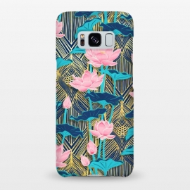 Galaxy S8+  Art Deco Lotus Flowers in Pink & Navy by Micklyn Le Feuvre (lotus,flowers,floral,micklyn,peach pink,golden,gold,yellow,leaves,nature,art deco,art nouveau,linework,retro,vintage,painted,flower,lily,water,navy,teal,trend)
