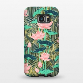 Galaxy S7 EDGE  Art Deco Lotus Flowers in Peach & Emerald by Micklyn Le Feuvre