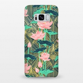 Galaxy S8+  Art Deco Lotus Flowers in Peach & Emerald by Micklyn Le Feuvre