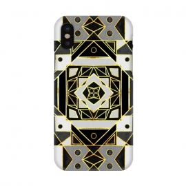iPhone X  Gold, Black & White Art Deco  by Tigatiga