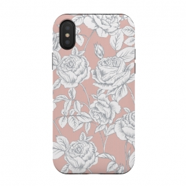 iPhone Xs/X  Drawn roses by Susanna Nousiainen (roses,drawnroses,rose,pink,whiteroses,bloom,gardrden,nature,fashionable)