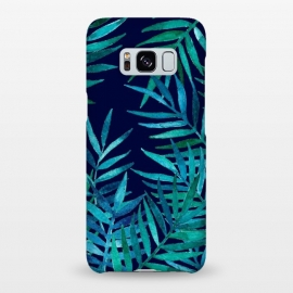 Galaxy S8+  Watercolor Palm Leaves on Navy Blue by Micklyn Le Feuvre