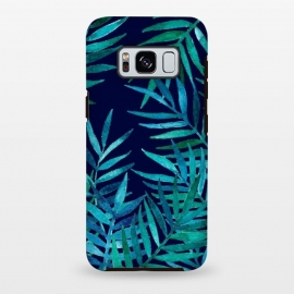 Galaxy S8 plus  Watercolor Palm Leaves on Navy Blue by  (tropical,emerald,teal,palm,leaves,leaf,watercolor,micklyn,watercolour,indigo,fresh,island,beach)