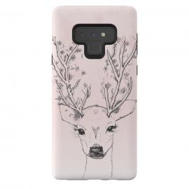 Galaxy Note 9  Cute Handdrawn Floral Deer Antlers Pink by  ()